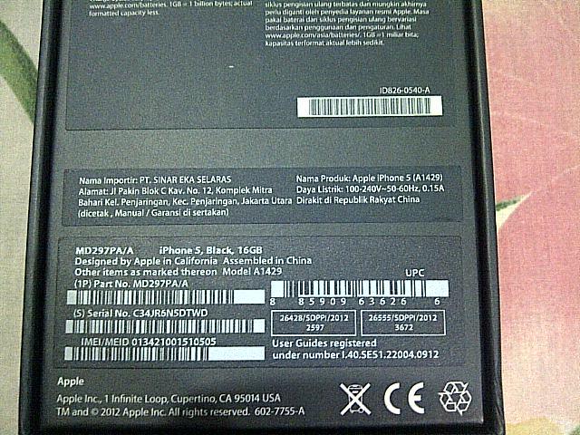 Contoh label iPhone bergaransi resmi Indonesia